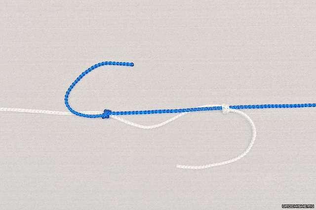Двойной рыбацкий узел- перед окончательным затягиванием