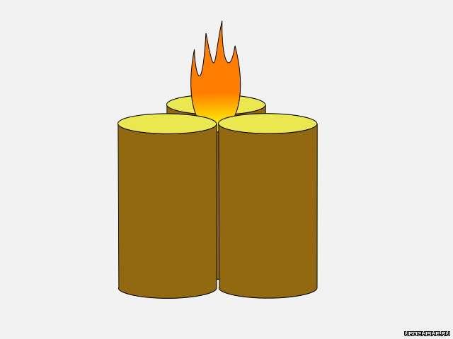 финская свеча из трёх поленьев