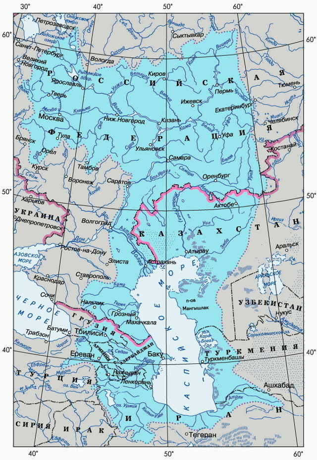 Каспийское море- карта