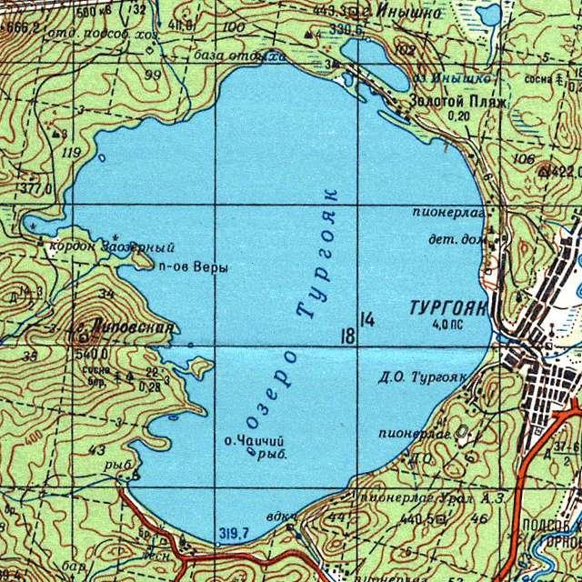 Тургояк- карта