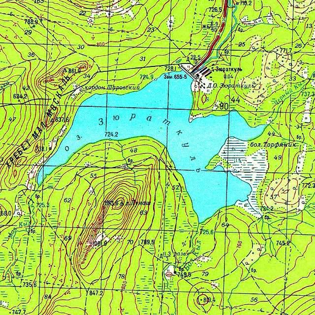 Зюраткуль- карта