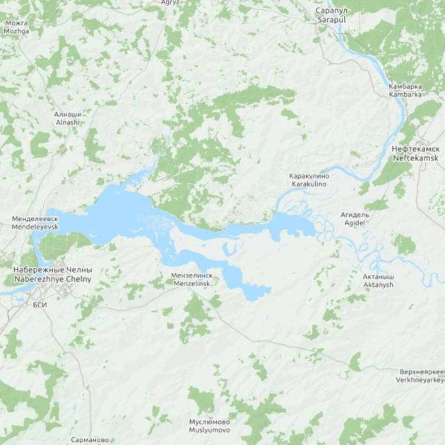 Нижнекамское водохранилище- карта