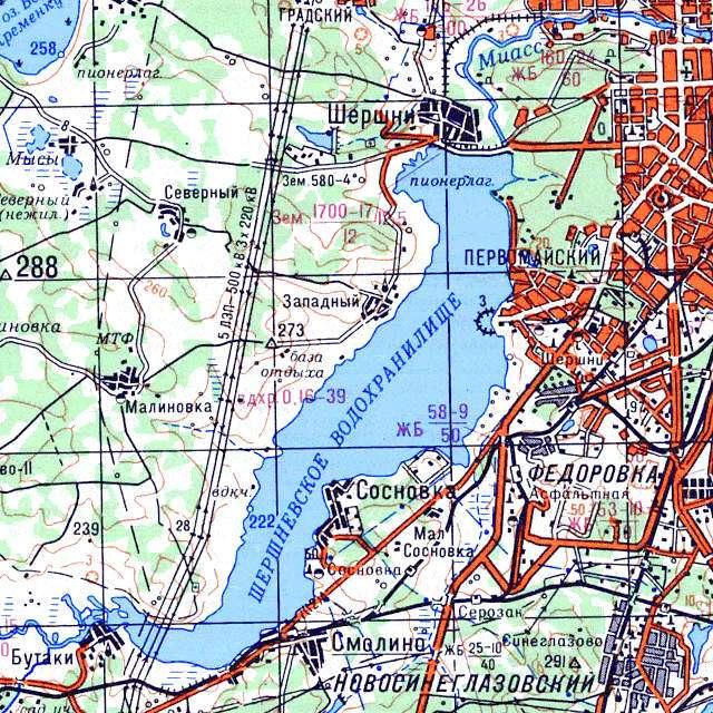 Шершнёвское водохранилище- карта